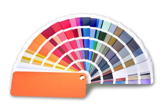 aufklappter Farbfächer für Design Kanzleiwebsite