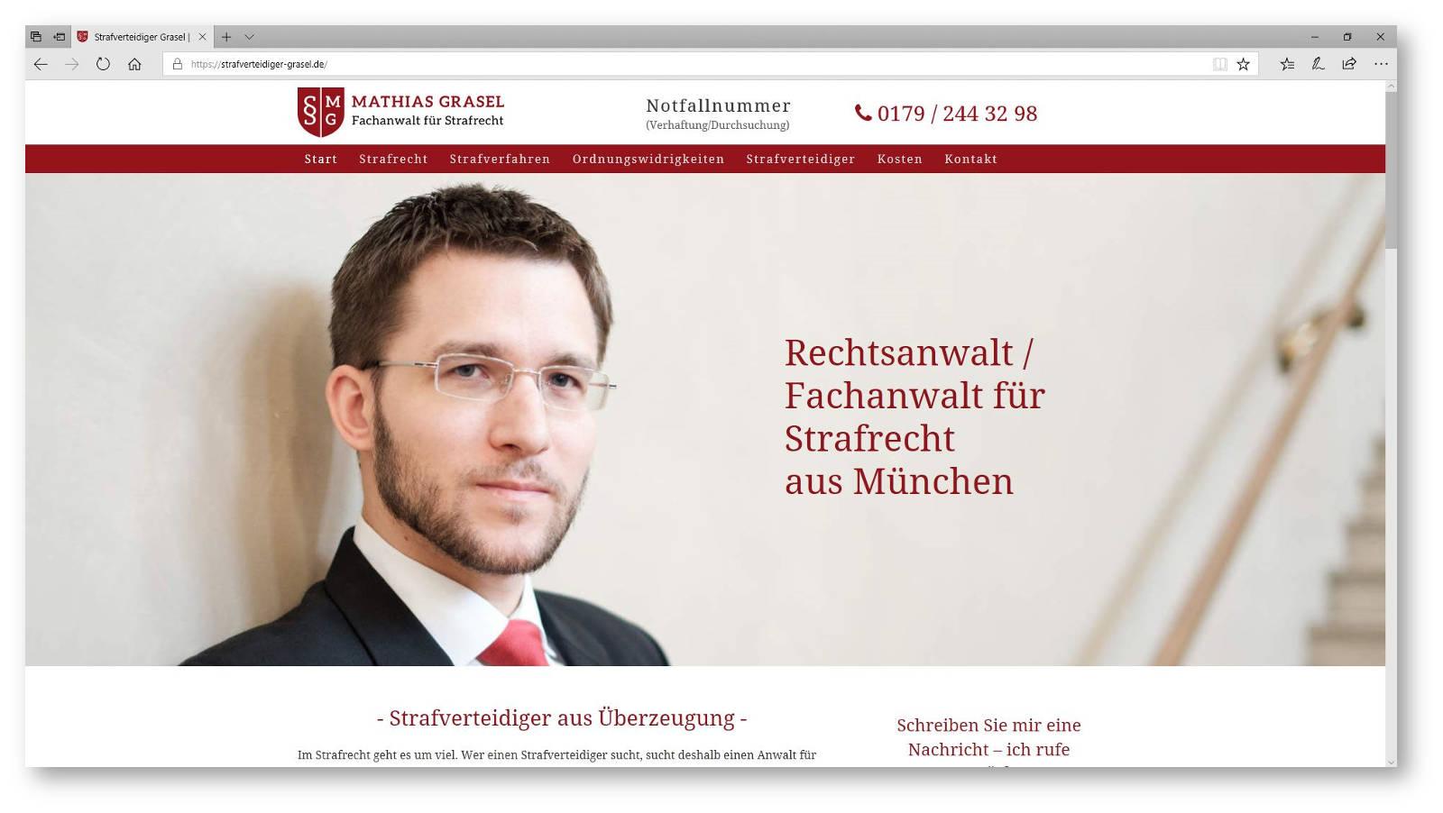 Porträt Strafverteidiger auf Kanzleiwebsite