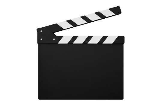 Filmklappe vor weißem Hintergrund - bildlich für Kanzelivideos