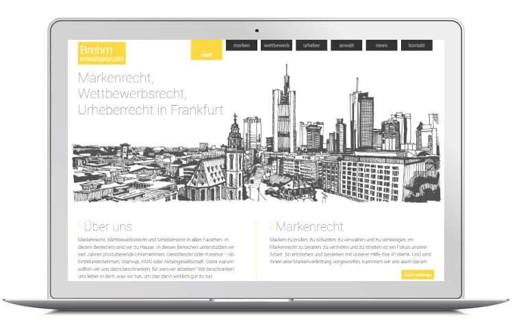 Screenshot Kanzleiwebsite Rechtsanwalt Brehm - Laptop