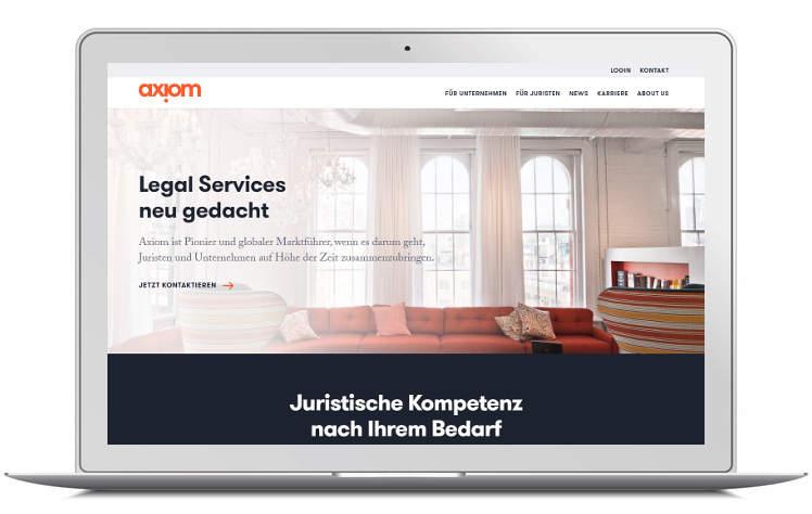 Screenshots Desktop - Startseite Axiom Deutschland - Legal Services neu gedacht