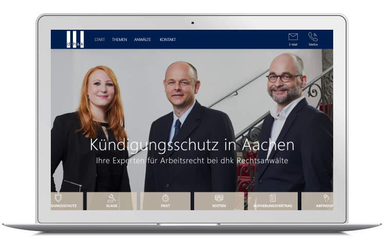 Screenshot Startseite auf Laptop- Landing Page Kündigungsschutz Aachen - dhk Rechtsanwälte
