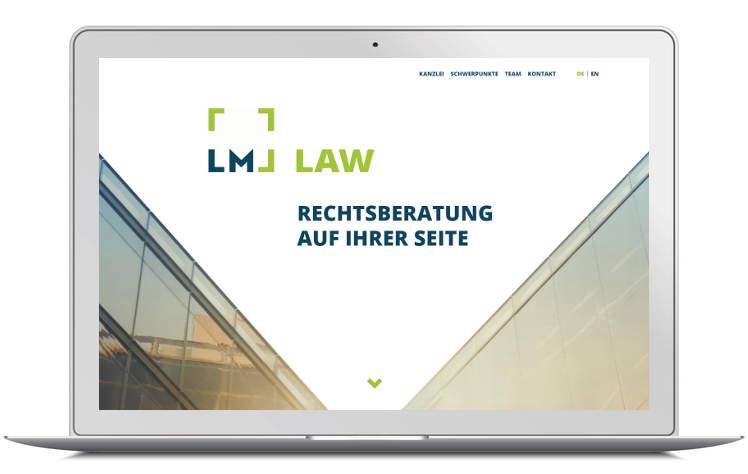 Screenshot Laptop Kanzleiwebsite LM LAW